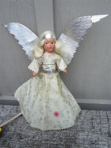 vintage  chalkware angel christmas tree topper light