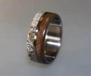 deer wedding rings titanium ring deer antler ring antler ring mens titanium wedding band oak wood and antler