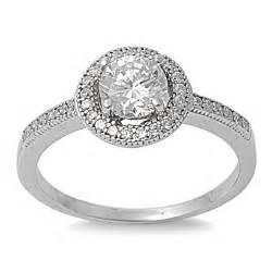 sterling silver clear cz halo engagement ring - Sterling Silver Wedding Ring