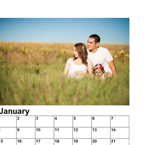 simple family photo calendar  excel templates