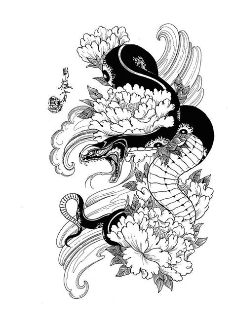 Image result for snake and lotus tattoo | Japanese tattoo designs, Japanese snake tattoo, Tattoo