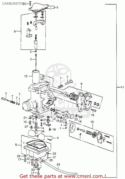 Honda Xl 350 Wiring Diagram by Honda Xl350 K0 1974 Usa Carburetor Schematic Partsfiche
