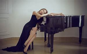 Girl in black dress in black piano wallpapers and images ...