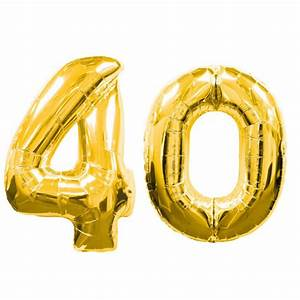 "Large Gold Number 40 Balloons (40""), Gold 40th Birthday"