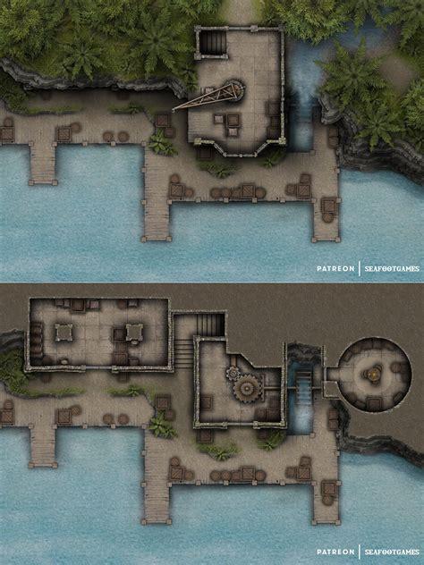 FREE Port Riverfall Multi-Level 30x20 Battlemap! [OC] : Roll20