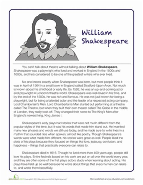 shakespeare biography worksheet education