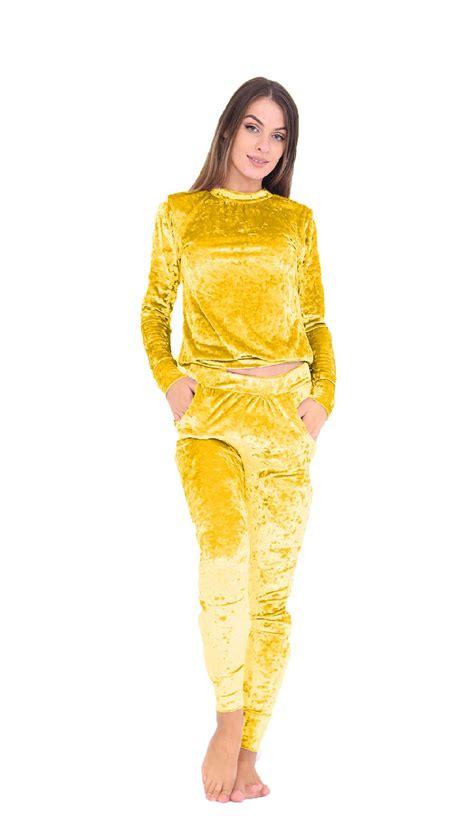 New Womens Crush Velvet Velour Tracksuit 2 Piece Co-ordinate Joggers Lounge Suit | eBay