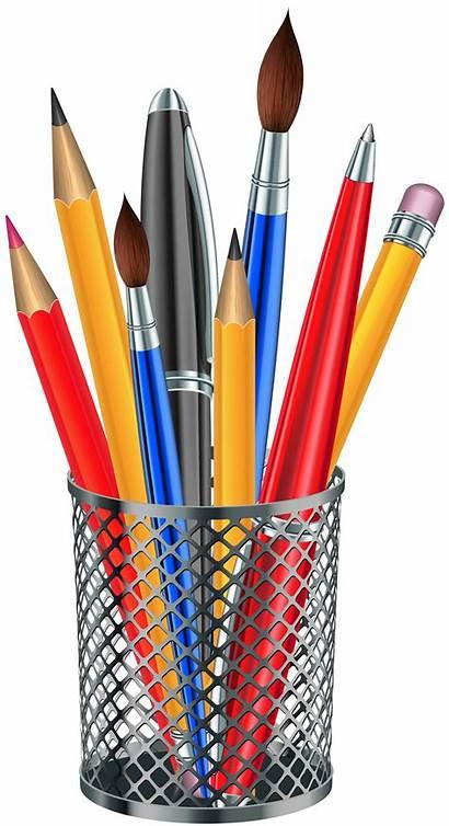 Transparent Pencil Clipart Cup Clip Supplies Metal