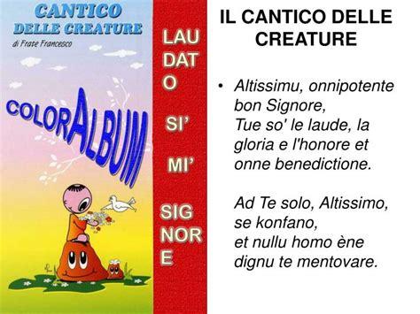 cantico delle creature testo italiano per bambini ppt il cantico delle creature powerpoint presentation