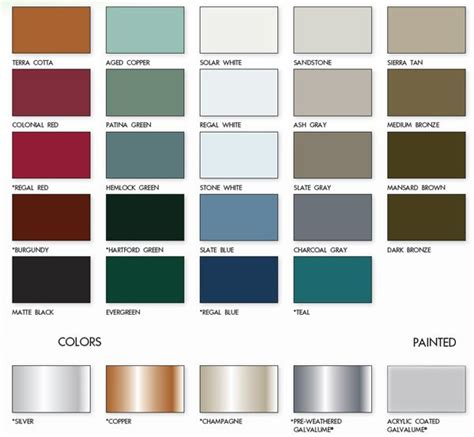 steel color metal roofs color chart metal roof color chart from