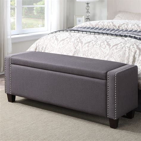 house  hampton gistel upholstered storage bedroom bench