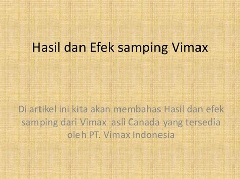 hasil dan efek sing vimax