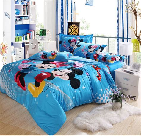 hot 5pcs 3d bedding mickey and minnie mouse comforter bedding sets queen king size turquoise
