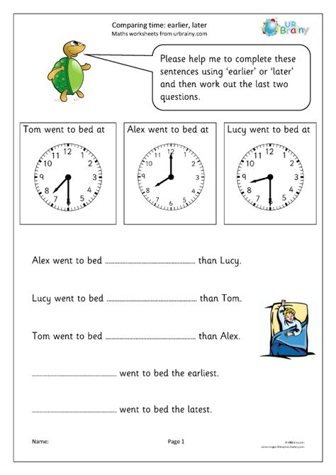 comparing time earlier   time worksheets