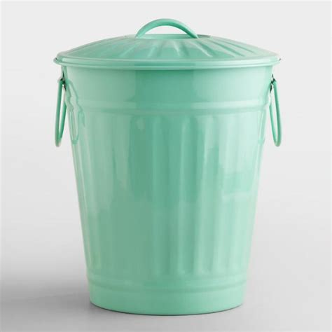 green kitchen trash can mint retro galvanized trash can world market 4031