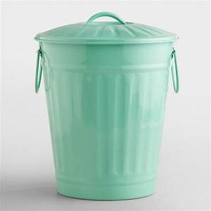Mint Retro Galvanized Trash Can World Market