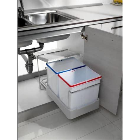 poubelle de cuisine coulissante poubelles coulissantes pour tri sélectif 2 bacs de 15 l