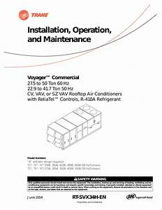 Trane Voyager Commercial 27 5 To 50 Tons Installation And
