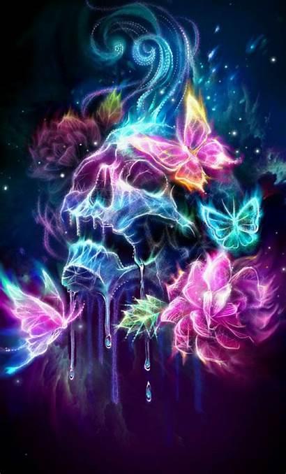 Skull Wallpapers Neon Sugar Butterfly Skulls Butterflies