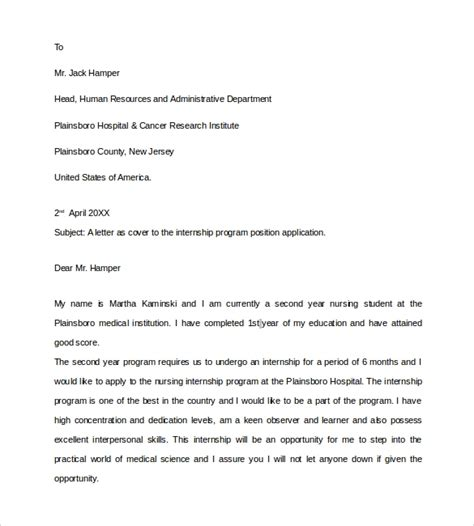 Cover Letter Sle Nursing Student by Sle Cover Letter 9 Documents In Pdf Word