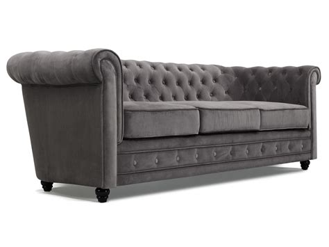canap 233 chesterfield tissu velours 3 places avec capitons