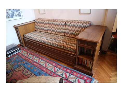 Mobile Sofa Bed Walnut Wood 2 Beds With Antique Library