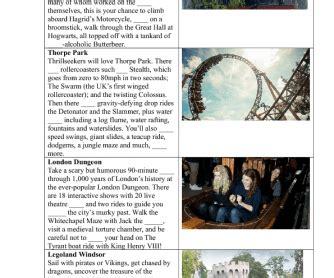 reading worksheet theme parks