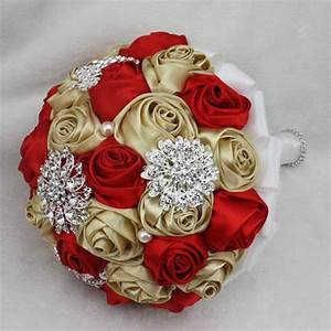 Hot Red And Gold Golden Silk Roses Dried Wedding Flowers