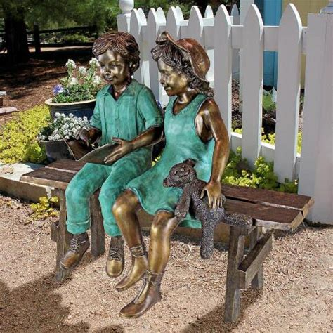 outdoor statues me read to me boy and on benchcast bronze garden statue 3882