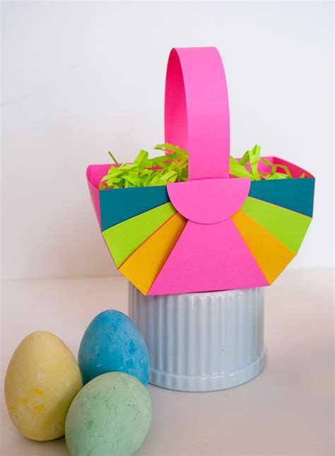 easy diy paper easter basket  astrobrights paper