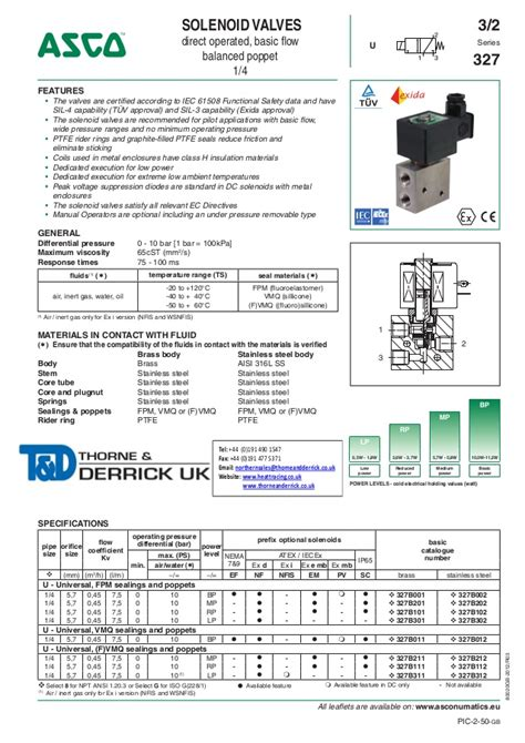 asco atex solenoid valves  series spec sheet