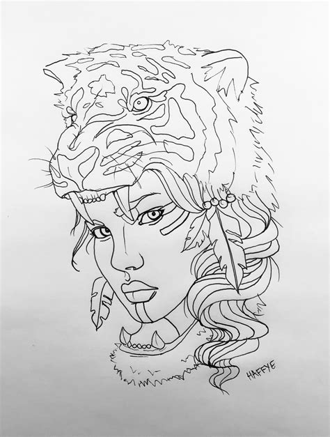 Native American Indian with tiger headdress tattoo design by HAFFYE | My Artwork | Headdress