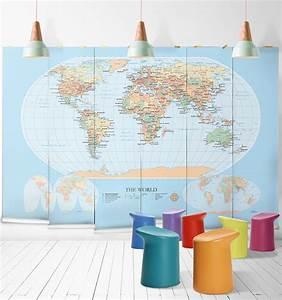 Papier Peint Planisphère : le monde est nous quand les planisph res ornent les murs maison cr ative ~ Teatrodelosmanantiales.com Idées de Décoration