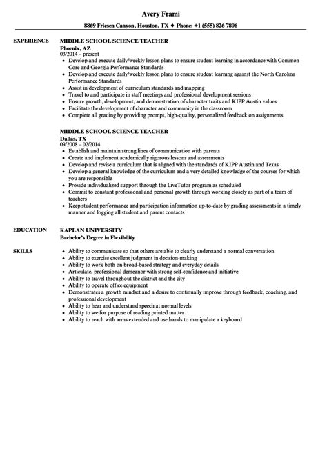 middle school science teacher resume sles velvet