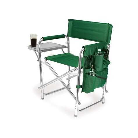 Lawn Chair With Table by Picnic Time Green Portable Folding Sports Cing Chair