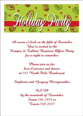 free holiday invitation wording for 99 162 company business party