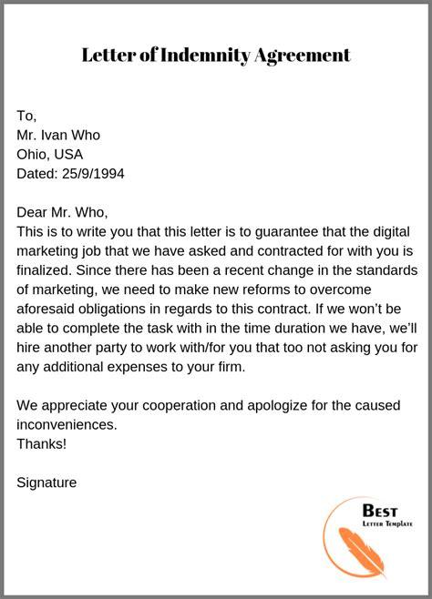 letter  indemnity template format sample