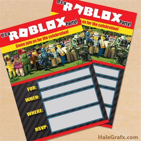 printable roblox party invitation birthday party
