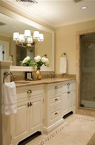the best cream bathrooms maria killam the true colour With kitchen colors with white cabinets with mirror framed wall art