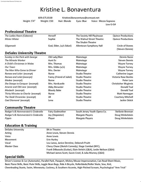 theatre resumes acting resume template download free samples examples