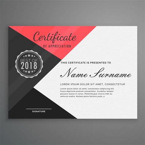 geometric certificate design  modern style