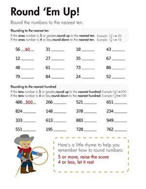 rounding round em up worksheet education com