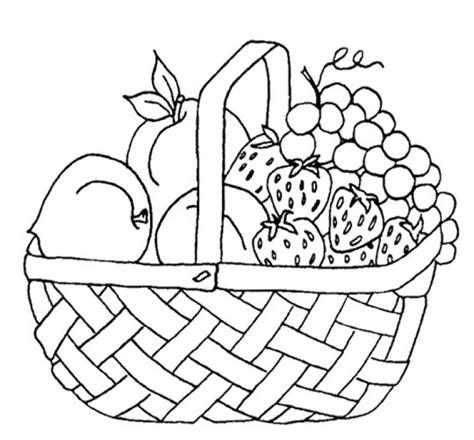 printable fruits  picnic basket coloring page fun