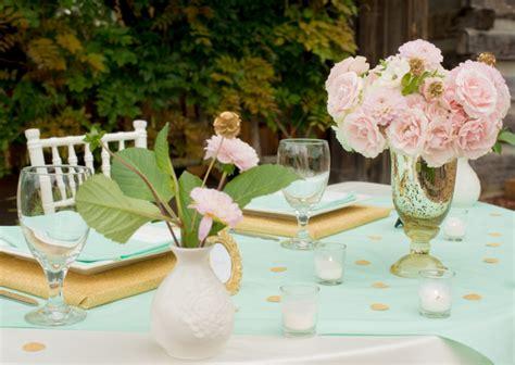 pink mint gold wedding inspiration   detail