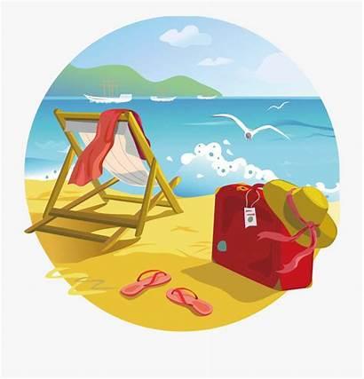 Beach Clipart Summer Tropical Cartoon Transparent Cliparts