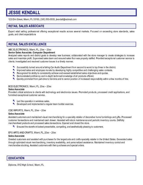 Resume For Sales Associate Example