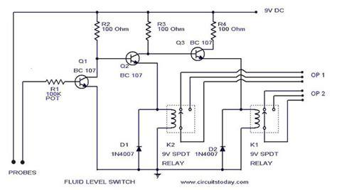 Liquid Fluid Water Float Tank Level Switch Circuit Diagram