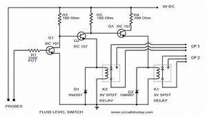 Liquid  Fluid  Water  Float  Tank Level Switch Circuit Diagram