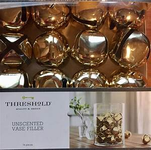 Gold, Large, Jingle, Bell, Vase, Filler, Unscented, Set, 16, New, By, Threshold, Christmas