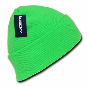 Decky Bright Neon Long Cuffed Beanies Beany For Men Women